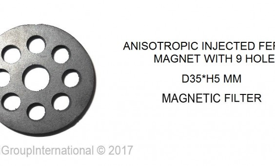 anisotropic injected ferrite magnet with 9 holes