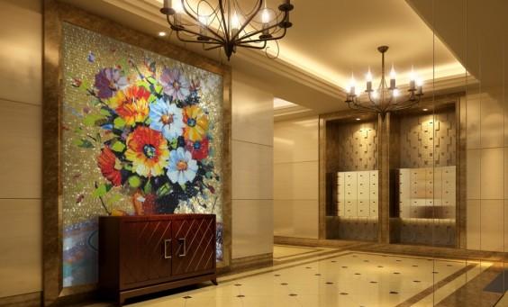hotel mosaici con fiori e fondo oro